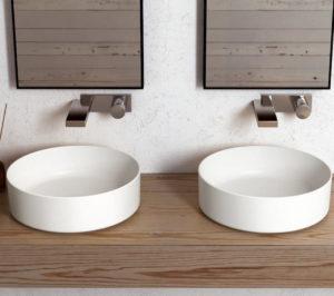 doppio lavabo da appoggio tondo sanitari Ceramica Cielo Shui Comfort