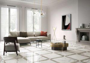 Italgraniti pavimenti rivestimenti salotto effetto marmo