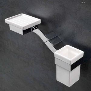 porta sapone e spazzolino, fissaggio a muro, accessori bagno, Stilhaus