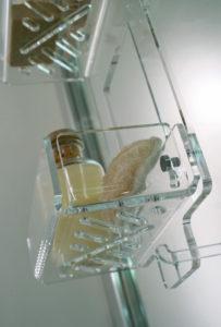 Mensola doccia porta sapone, plexiglass, Caos